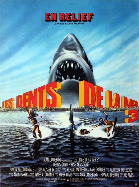 LES DENTS DE LA MER 3 Affiche du Film de 1982 Joe Alves Dennis Quaid Louis Gosset Jr.40X60 CM