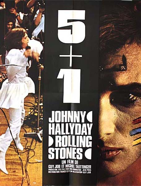 5 + 1 Affiche du film - 1970 - Johnny Hallyday + The Rolling Stones Job & Taittinger 60X80 CM