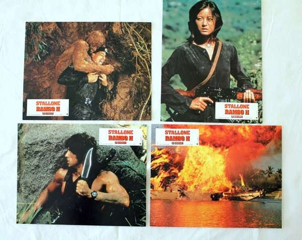 RAMBO II, La mission Photos du film x4 - 1985 - George Pan Cosmatos Sylvester Stallone 21x27 cm