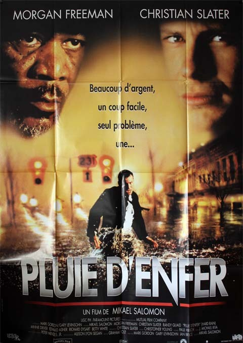 PLUIE D'ENFER, Hard Rain. Affiche du film 120x160 cm - USA 1998 - Morgan Freeman Mikael Salomon