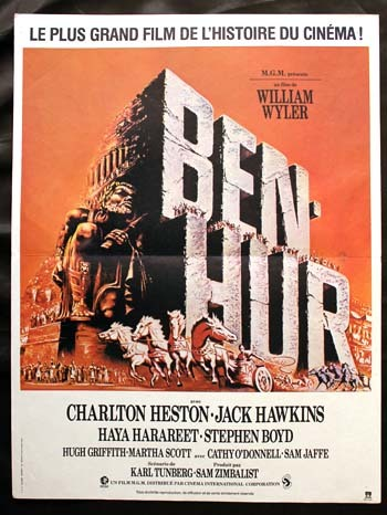 BEN HUR Affiche de ressortie du film - USA 1959 - William Wyler Charlton Heston 40x60 cm
